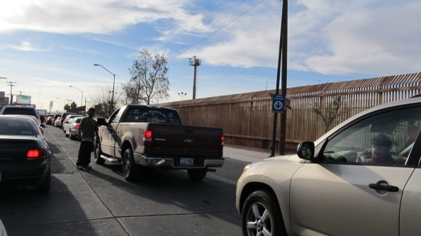 Waiting in line to cross from Agua Prieta, Sonora to Douglas, Ariz.  Photo by Curtis Prendergast.