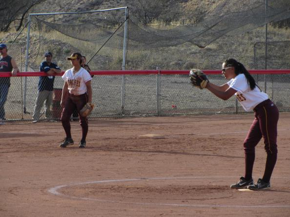Emerald Grijalva winds up during her shutout victory over the Rio Rico Hawks on Wednesday. Photo by Curt Prendergast.